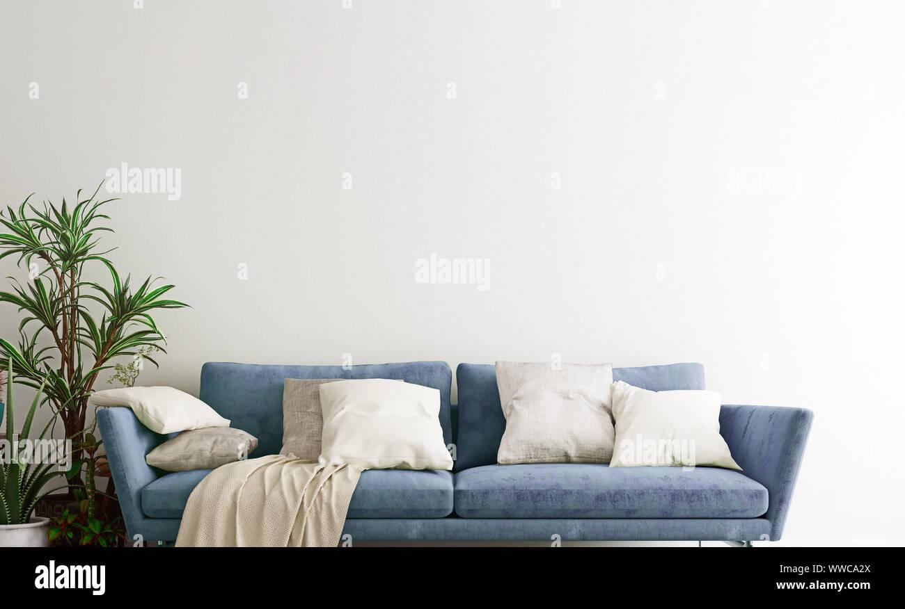 Pleasing Mock Up Wall With Steel Blue Sofa In Modern Interior Inzonedesignstudio Interior Chair Design Inzonedesignstudiocom