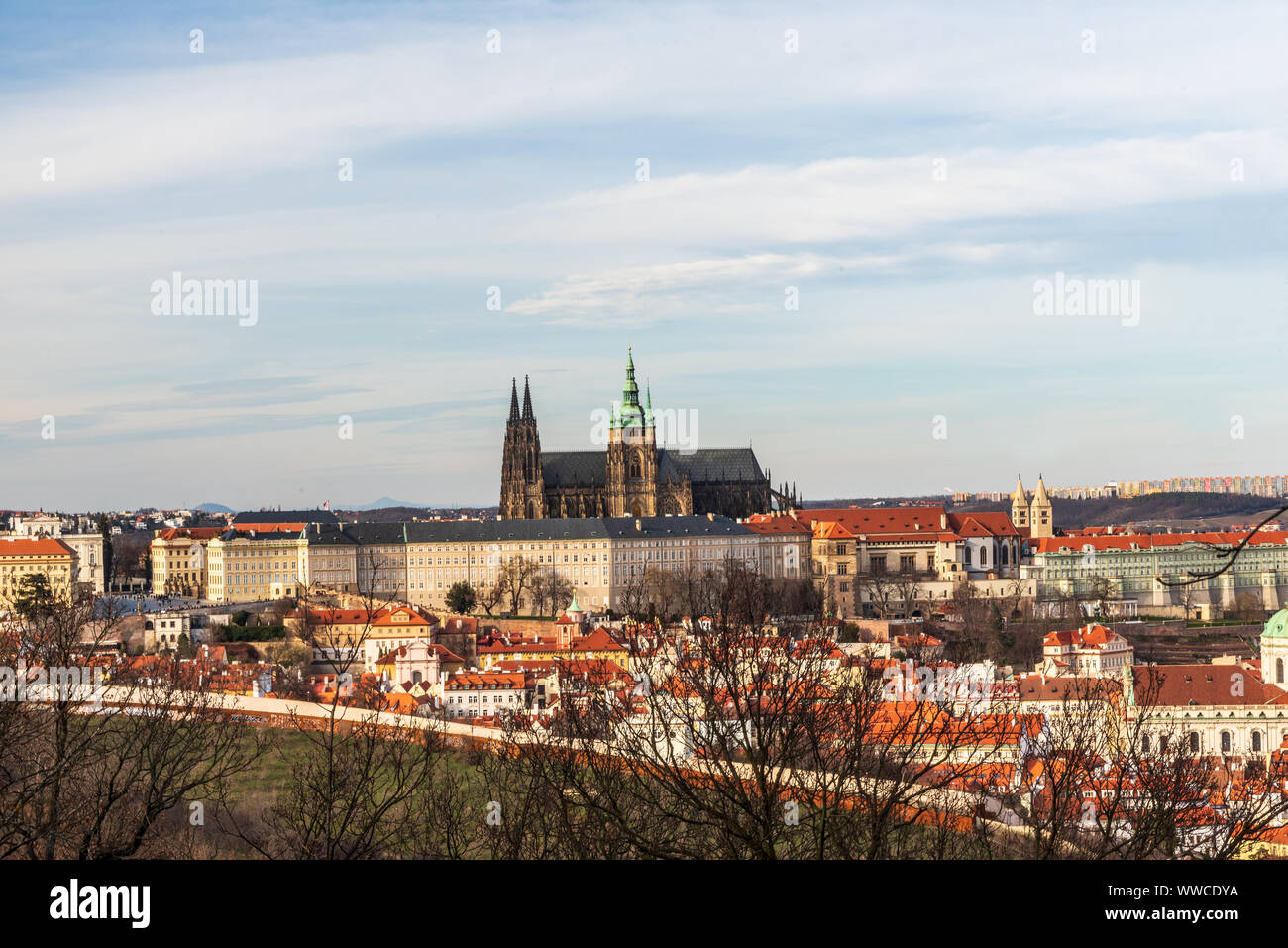 view to Prazsky hrad castle from Petrinske sady public park in Praha city in Czech republic during nice early spring day Stock Photo