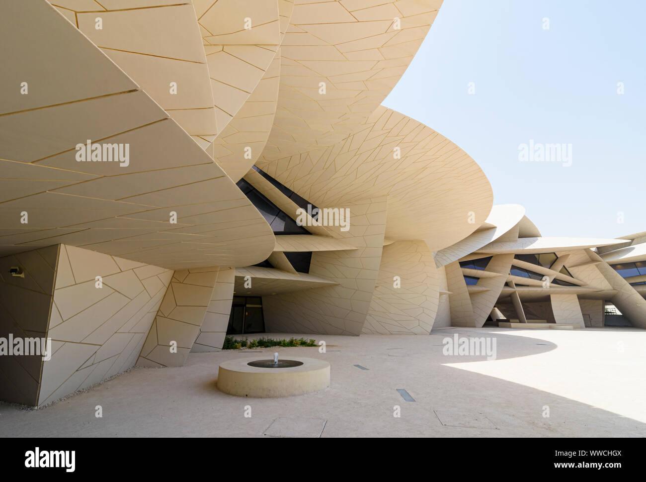 The desert rose inspired architectural landmark of the National Museum of Qatar, Doha, Qatar Stock Photo