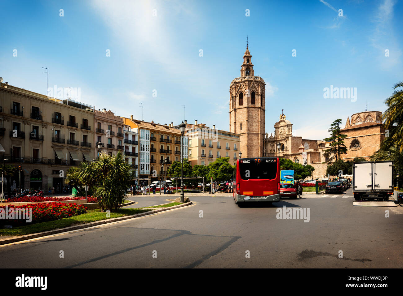 Valencia, Spain - May 07th 2019: A beautiful view of Torre del Micalet, also known as El Miguelete, the bell tower of Valencia Cathedral, in the histo Stock Photo