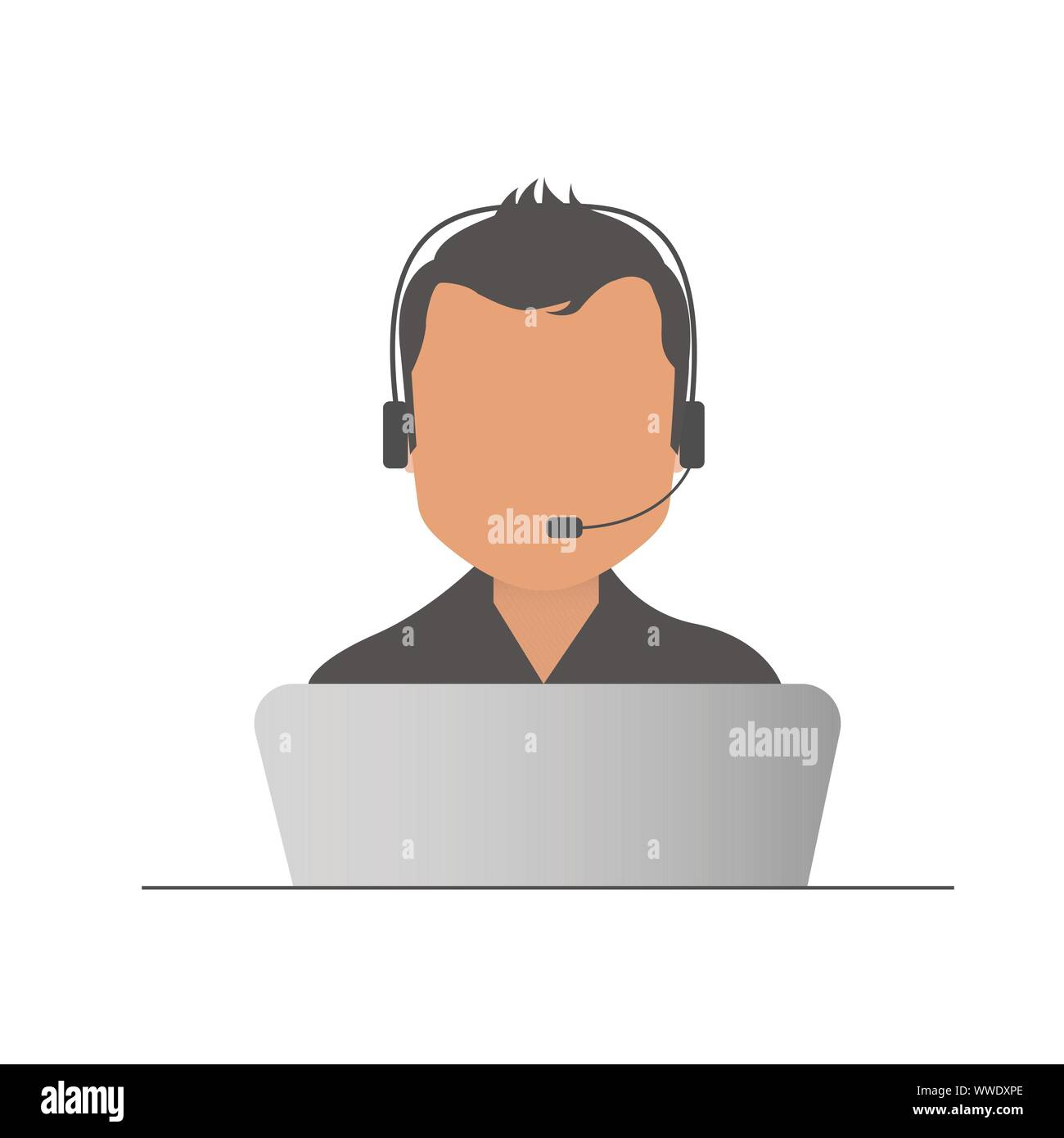 Call center operator with headset, Support Services, Online Support Center, Flat Designed Vector Illustration Stock Vector
