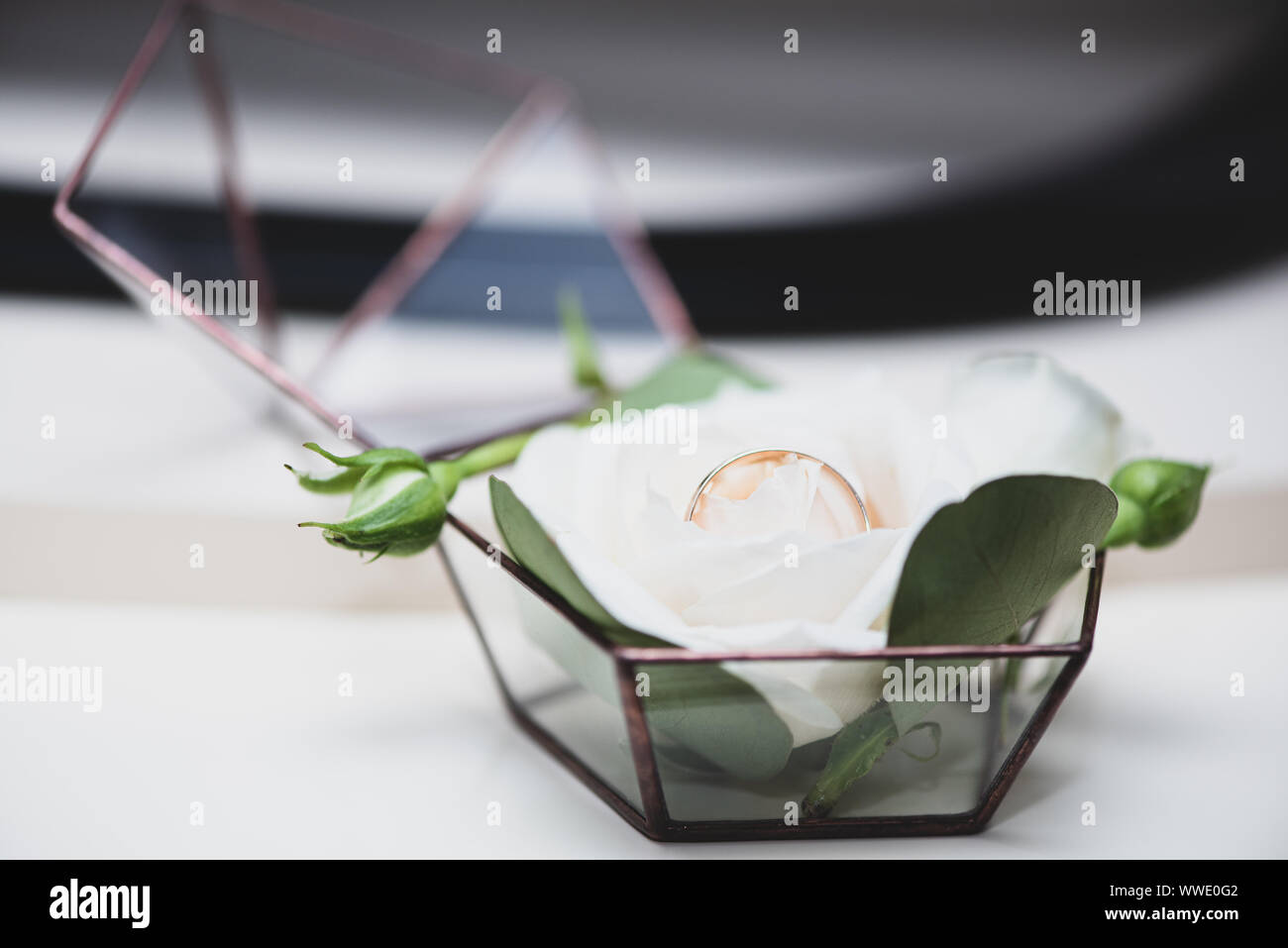 Two wedding rings in a beautiful box decorated with rose flowers. Themes of engagement, declaration of love, wedding day, florist services. Stock Photo