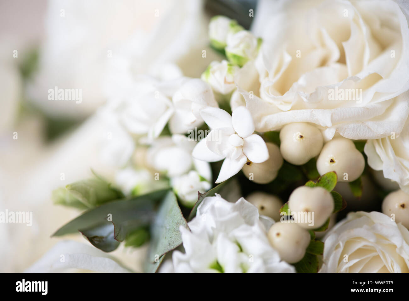 Beautiful bouquet of flowers closeup. Themes of engagement, declaration of love, wedding day, florist services. Stock Photo