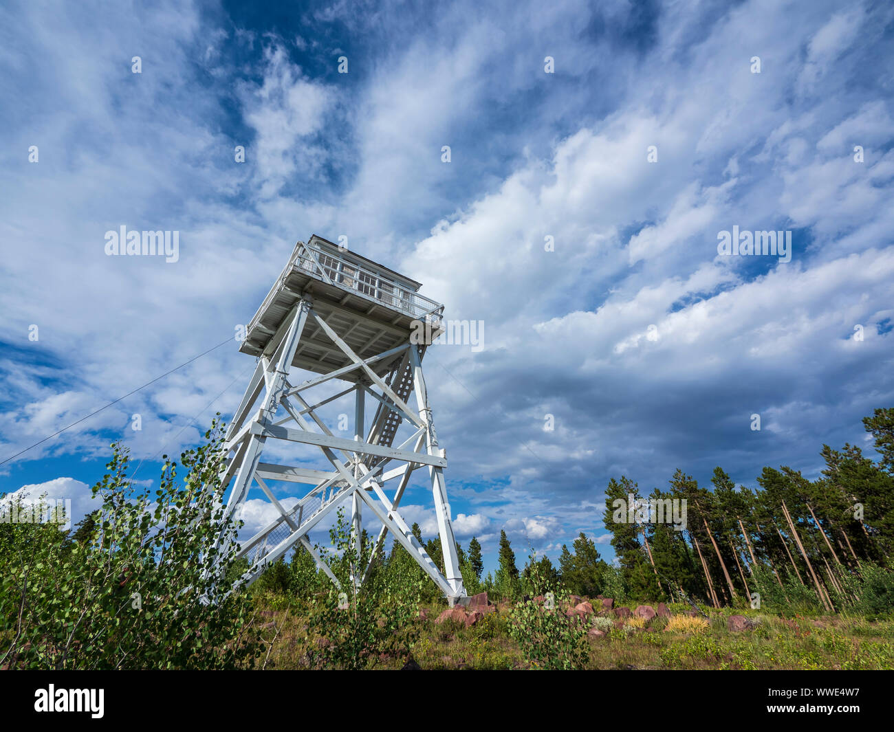 Ute Mountain Fire Lookout Tower National Historical Site, Ashley National Forest, Utah. Stock Photo