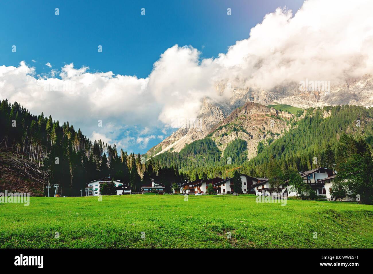 Mezzano Imerm, Pale di San Martino village with Dolomite peaks in Val di Primiero Noana of Trentino Alto-Adige . Stock Photo