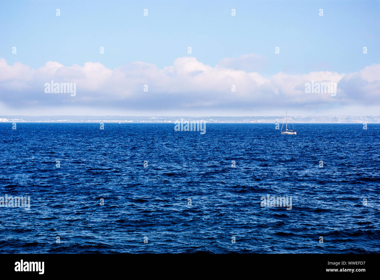Sailboat In The Sea With Copy Paste Space Stock Photo 273841379