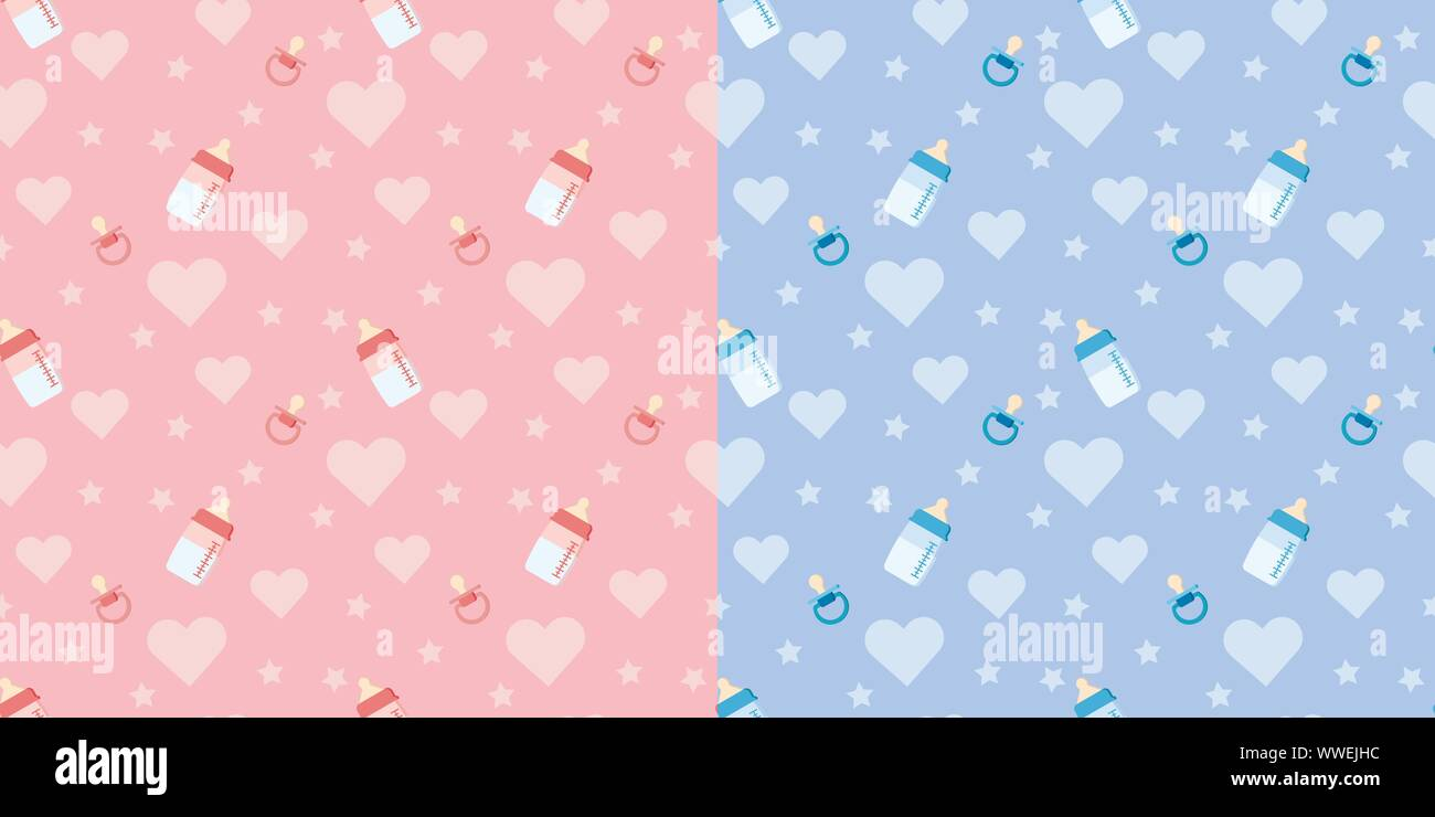 Set of cute vector seamless pattern with baby bottle, pacifier, heart. Stock Vector