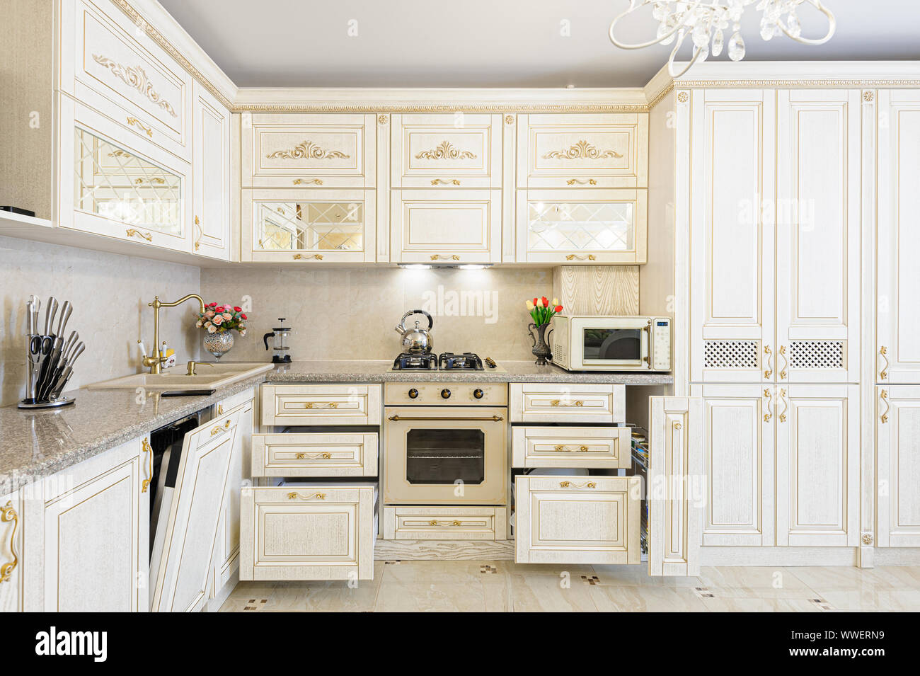 Luxury Modern Beige And Cream Colored Kitchen Interior Stock Photo Alamy