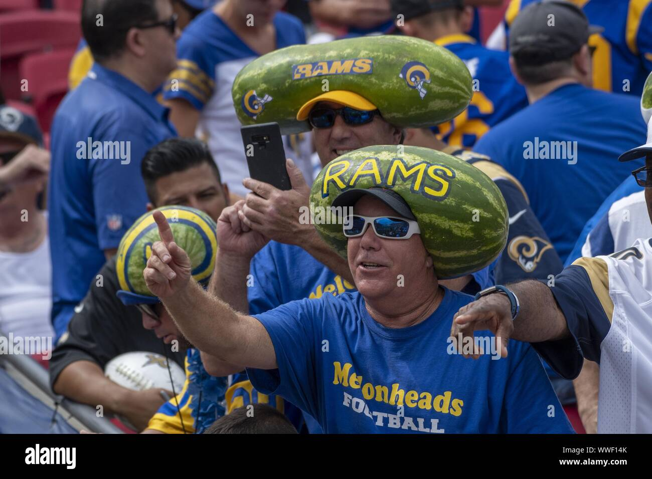 Los Angeles, United States. 15th Sep, 2019. Watermelon heads were in full display at the Los Angeles Memorial Coliseum in Los Angeles, California on Sunday, September 15, 2019. The Rams defeated the Saints 27 - 9 to open their home season. Photo by Michael Goulding/UPI Credit: UPI/Alamy Live News Stock Photo