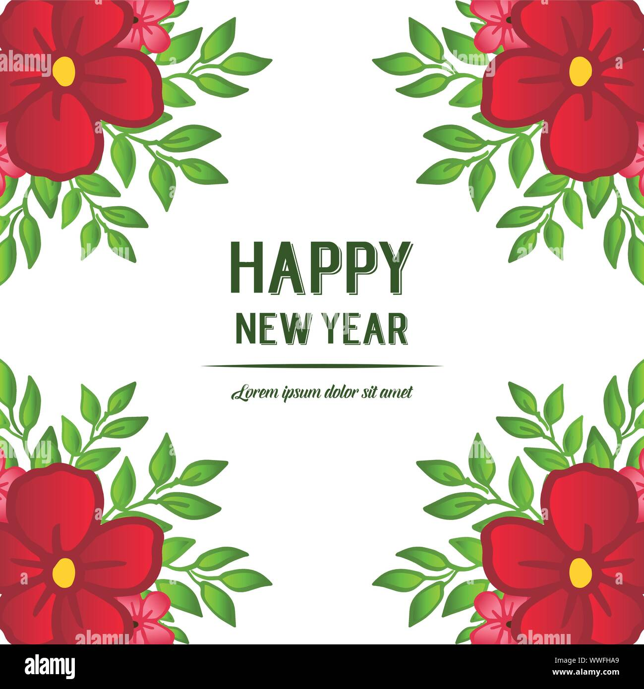 Happy new year greeting card template, with drawing of ...