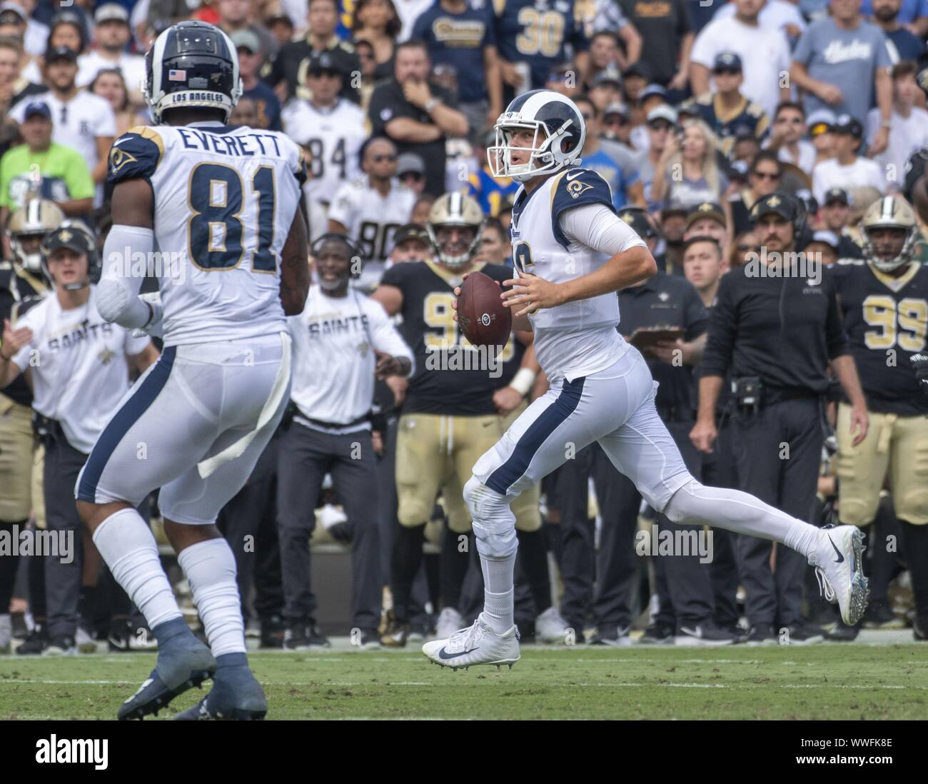 Los Angeles, United States. 15th Sep, 2019. Los Angeles Rams quarterback Jared Goff (16) looks for a receiver at the Los Angeles Memorial Coliseum in Los Angeles, California on Sunday, September 15, 2019. The Rams defeated the Saints 27 - 9 to open their home season. Photo by Michael Goulding/UPI Credit: UPI/Alamy Live News Stock Photo