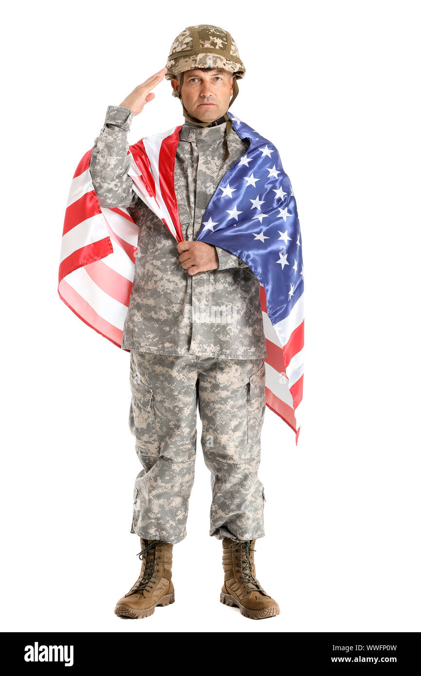 Saluting male soldier with USA flag on white background Stock Photo