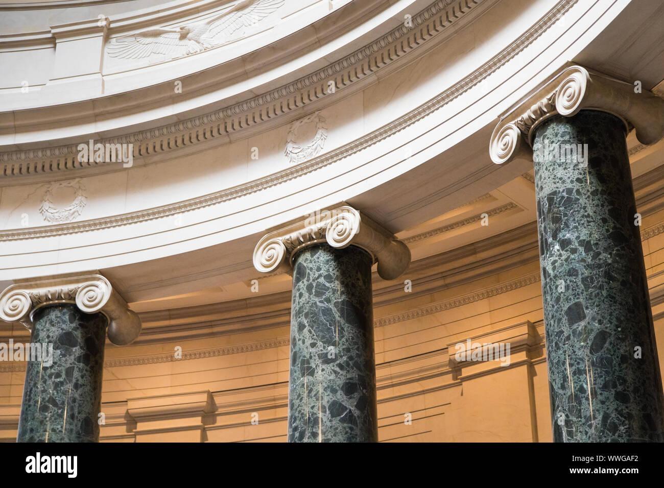 Washington DC, USA - June 6th 2019: Columns inside National Gallery of Art Stock Photo