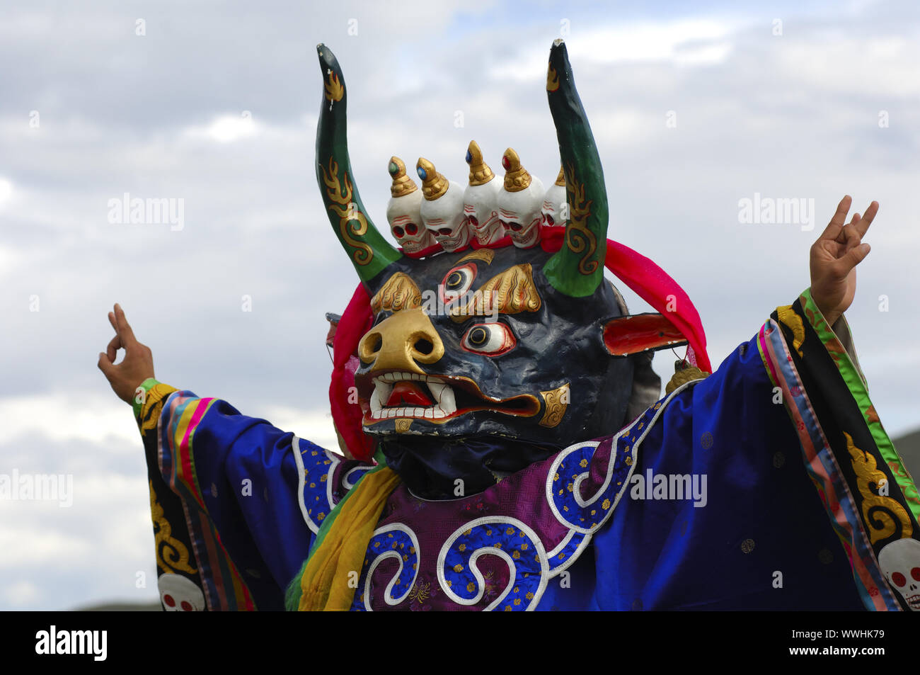 Damdin Tshoijoo, god of the realm of the dead, dance mask Stock Photo