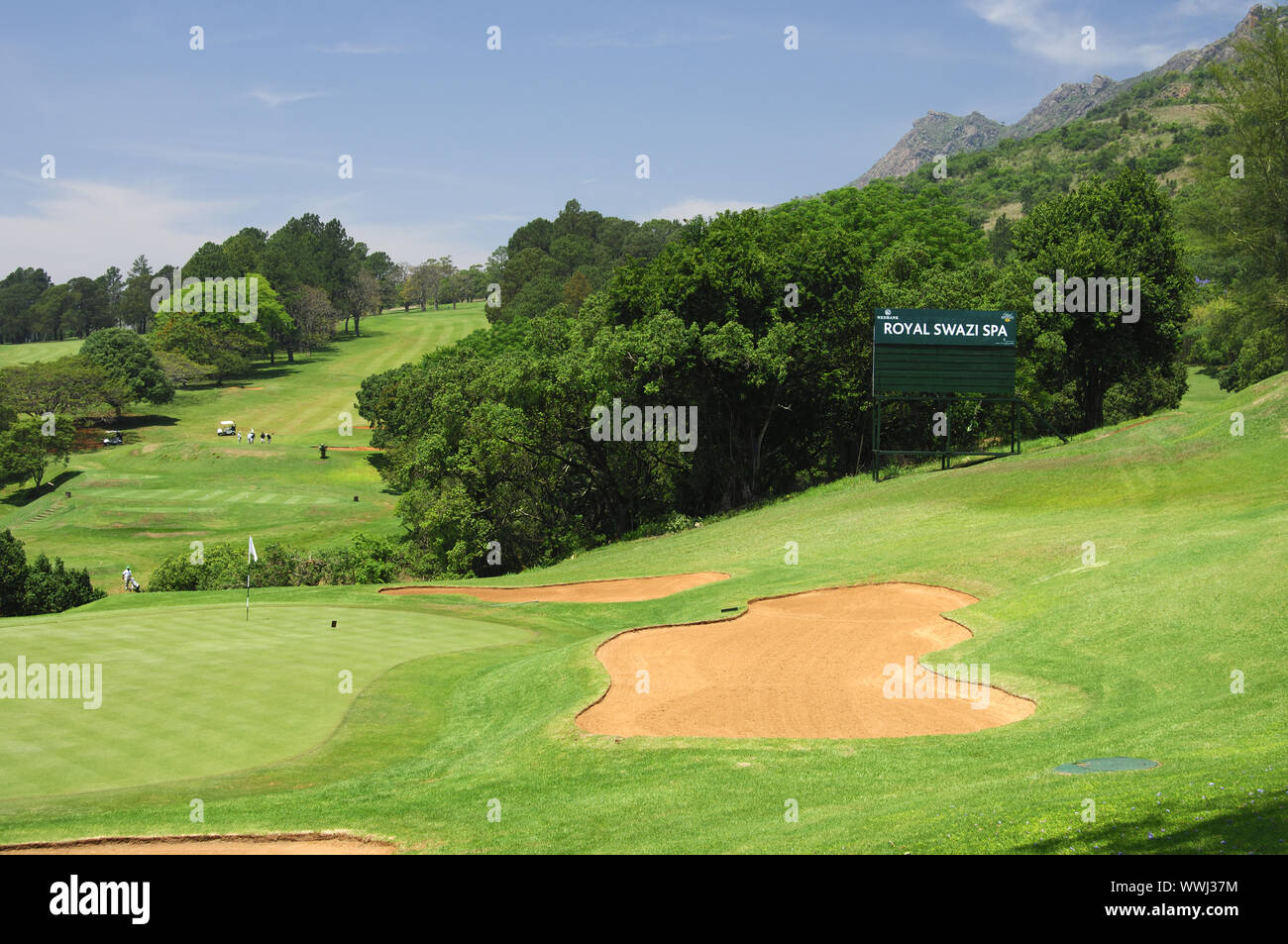 Bunker, Golf course of the Royal Swazi Spa Resort Stock Photo