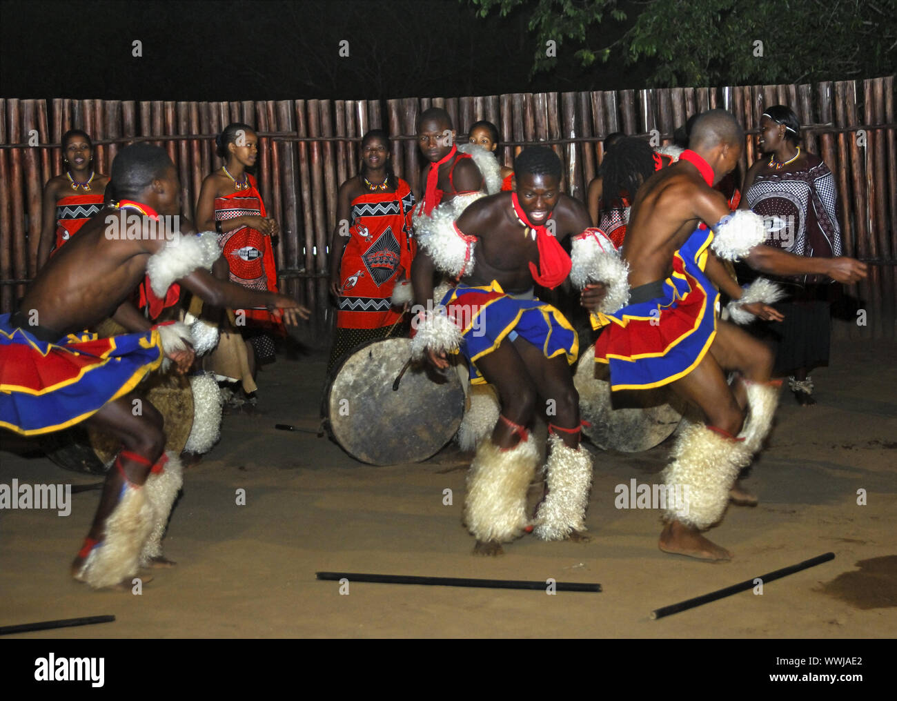 Male Dance Group, Swaziland Stock Photo
