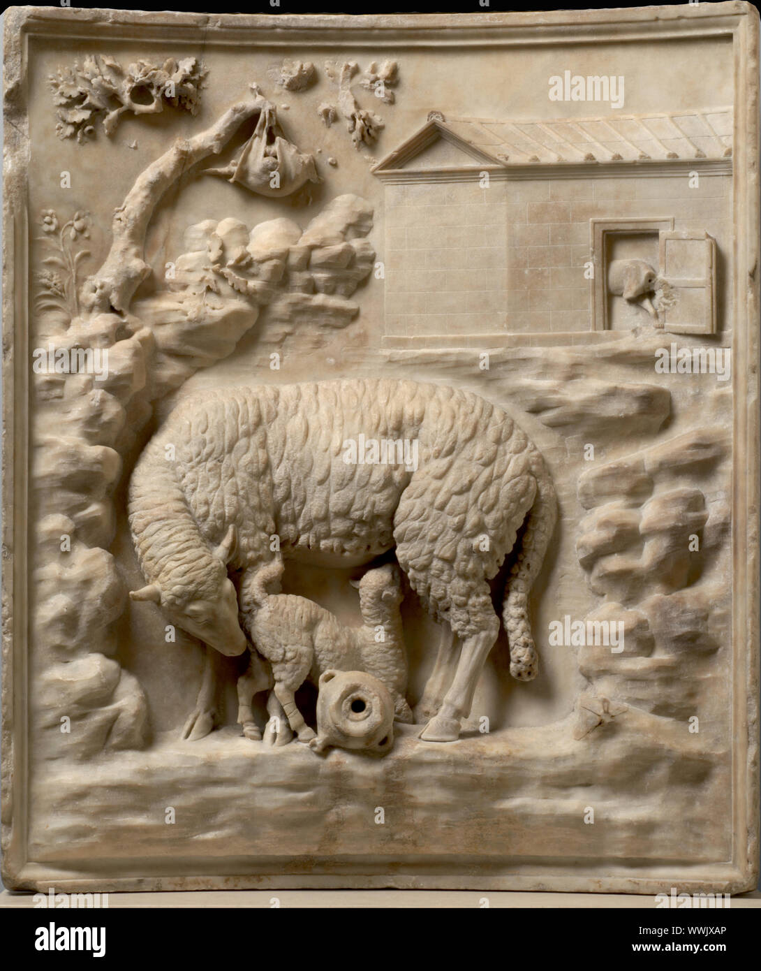 Grimani Relief: A sheep with her lamb, 1st century BC. Found in the Collection of Art History Museum, Vienne. Stock Photo
