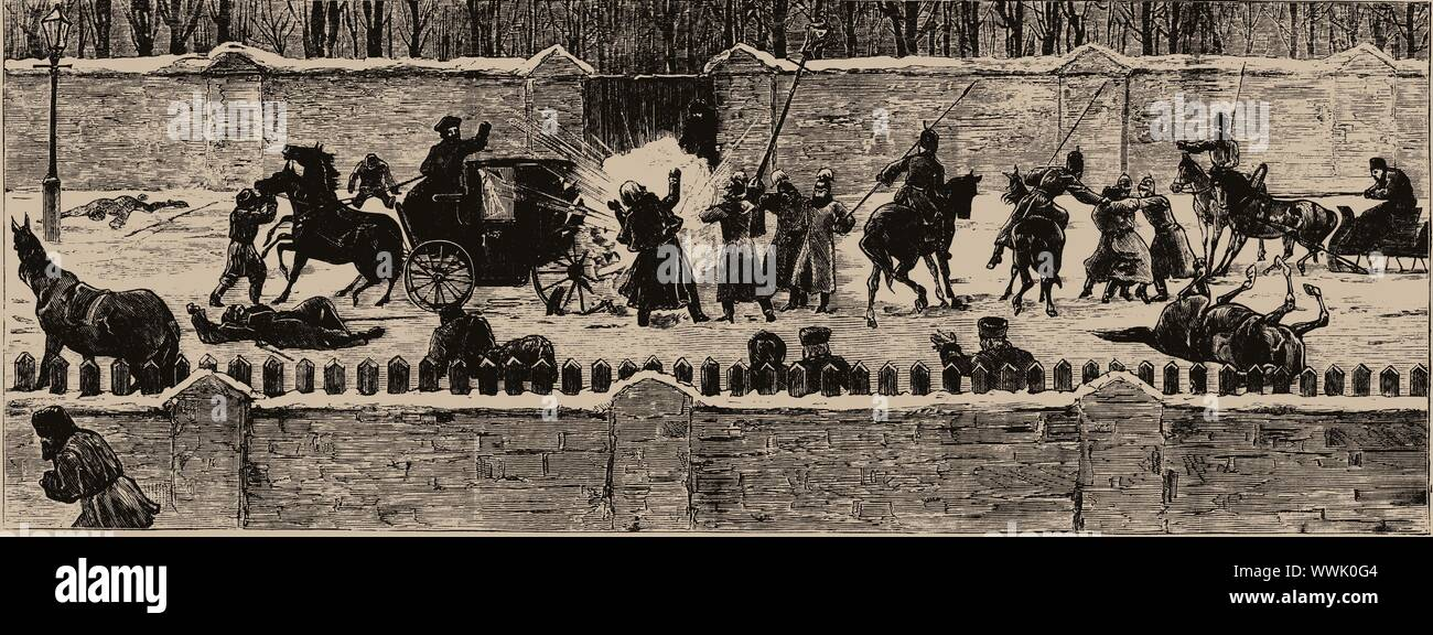 The Assassination of Alexander II on 13 March 1881, 1881. Private Collection. Stock Photo
