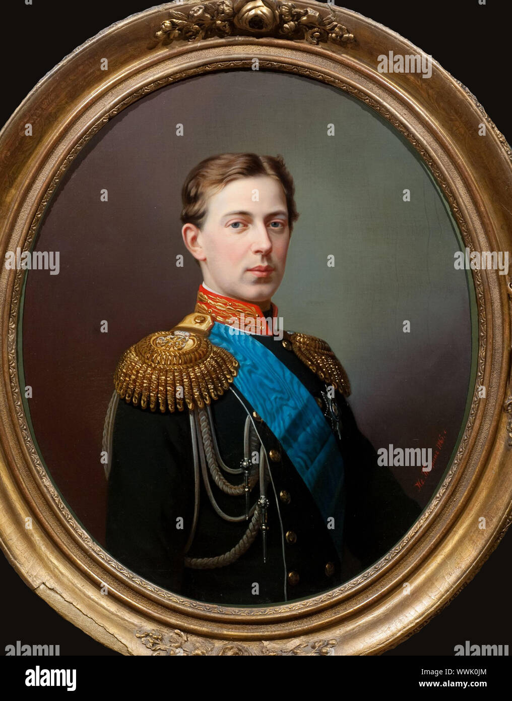 Portrait of Tsarevich Nicholas Alexandrovich of Russia (1843-1865), 1865. Found in the Collection of State History Museum, Moscow. Stock Photo