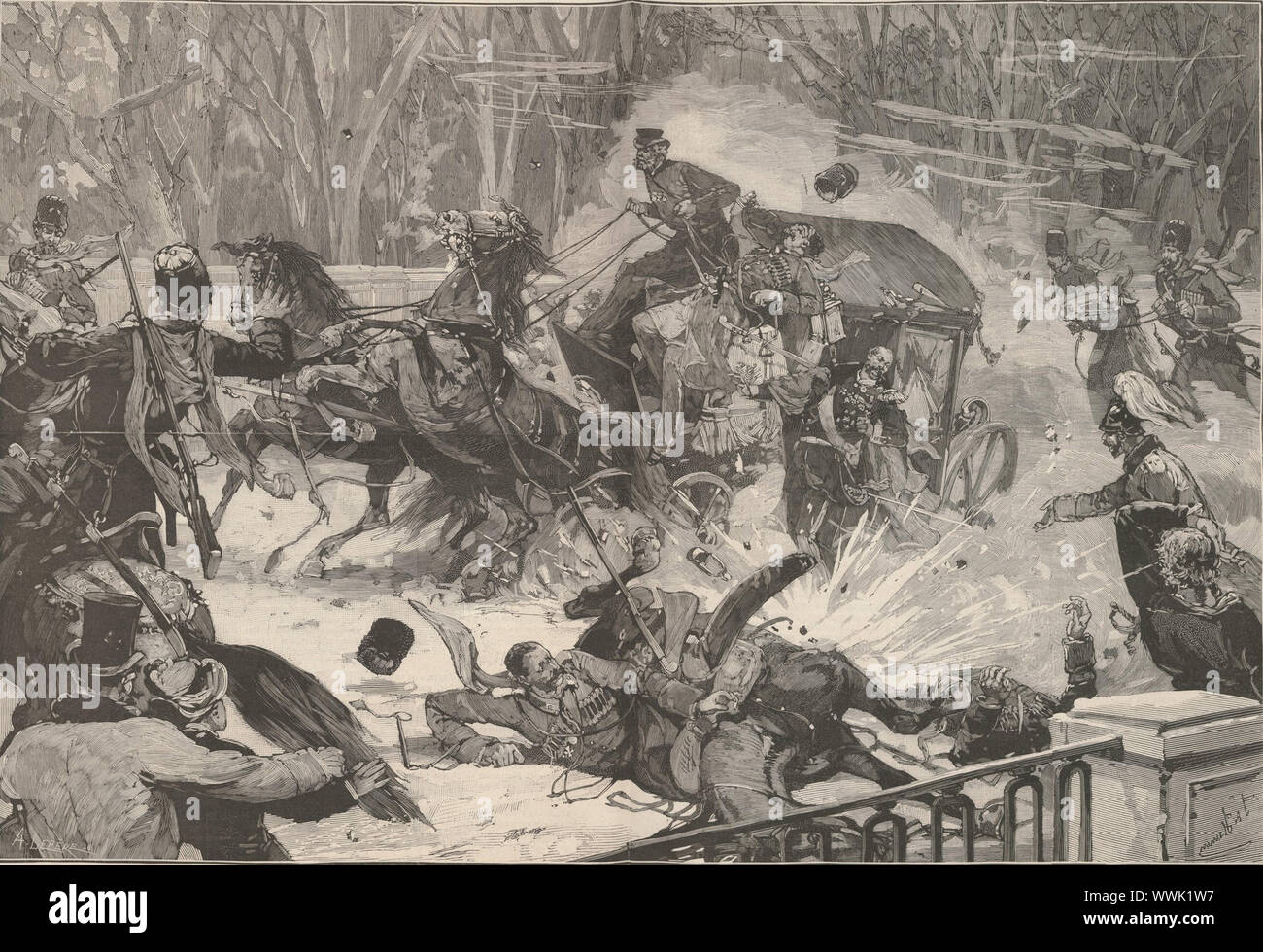 """The Assassination of Alexander II on 13 March 1881. From """"Le Monde Illustré"""", 1881. Found in the Collection of Bibliothèque Nationale de France. Stock Photo"""