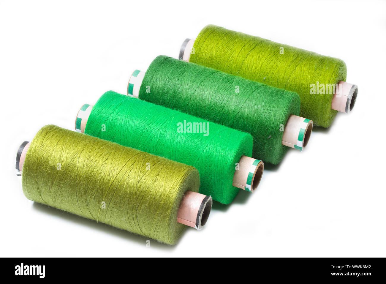 Coloured yarn reels Stock Photo