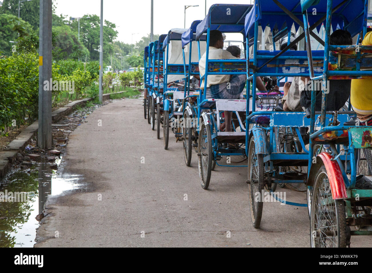 Rickshaws in Delhi, India, waiting for passengers Stock Photo