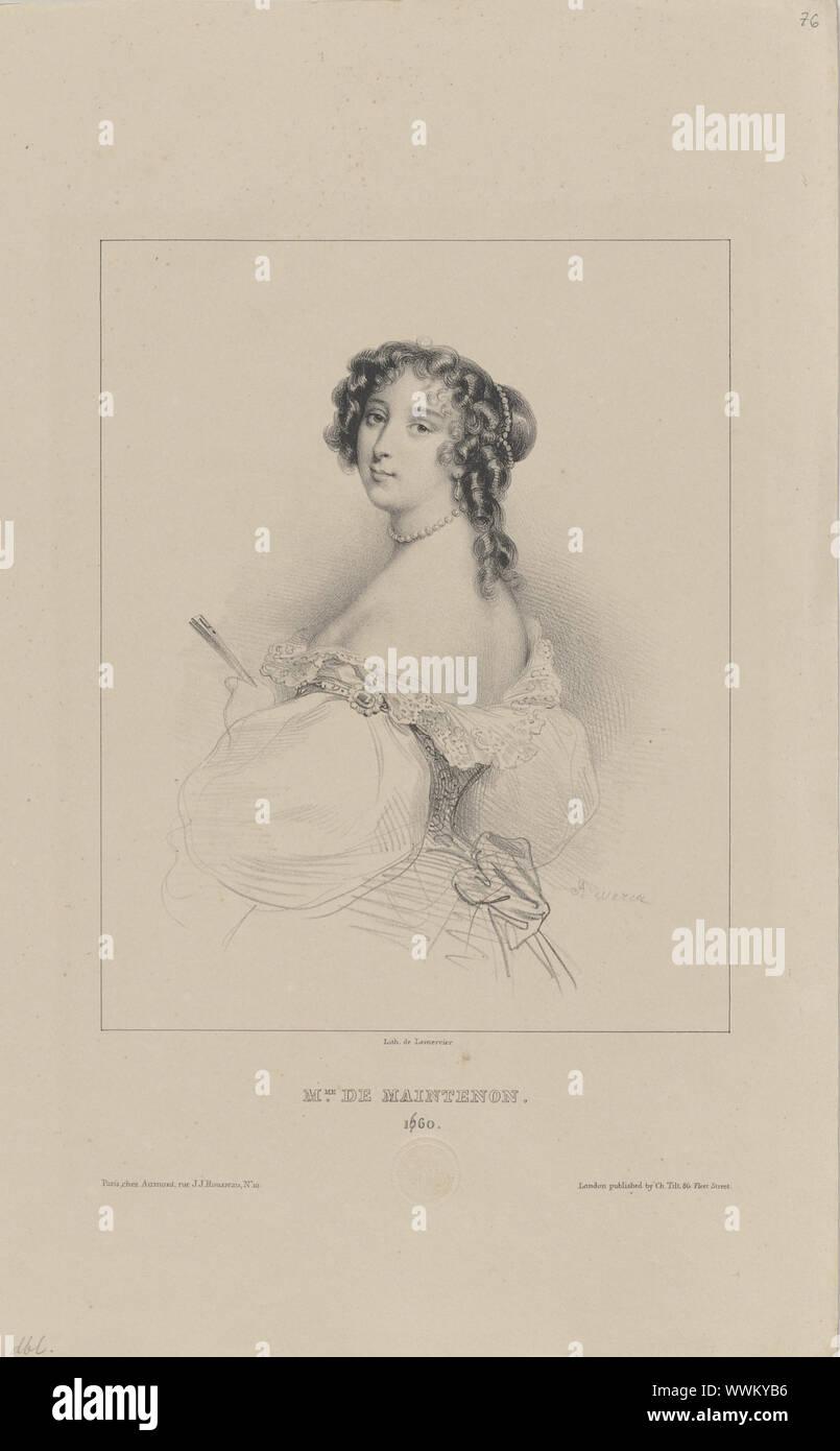 Françoise d'Aubigné, Marquise de Maintenon (1635-1719), 1830-1840s. Private Collection. Stock Photo