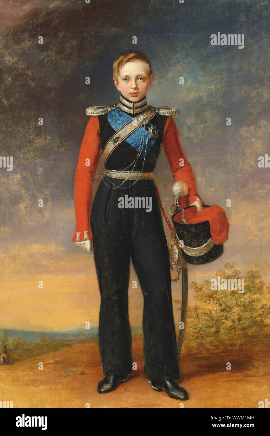 Portrait of the Crown prince Alexander Nikolayevich (1818-1881). Private Collection. Stock Photo