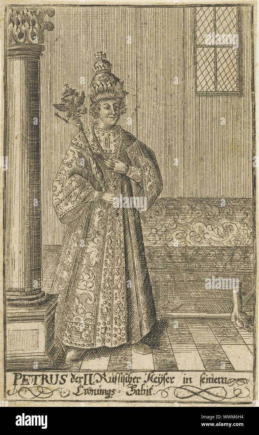 Portrait of the Tsar Peter II of Russia (1715-1730), ca 1730. Private Collection. Stock Photo