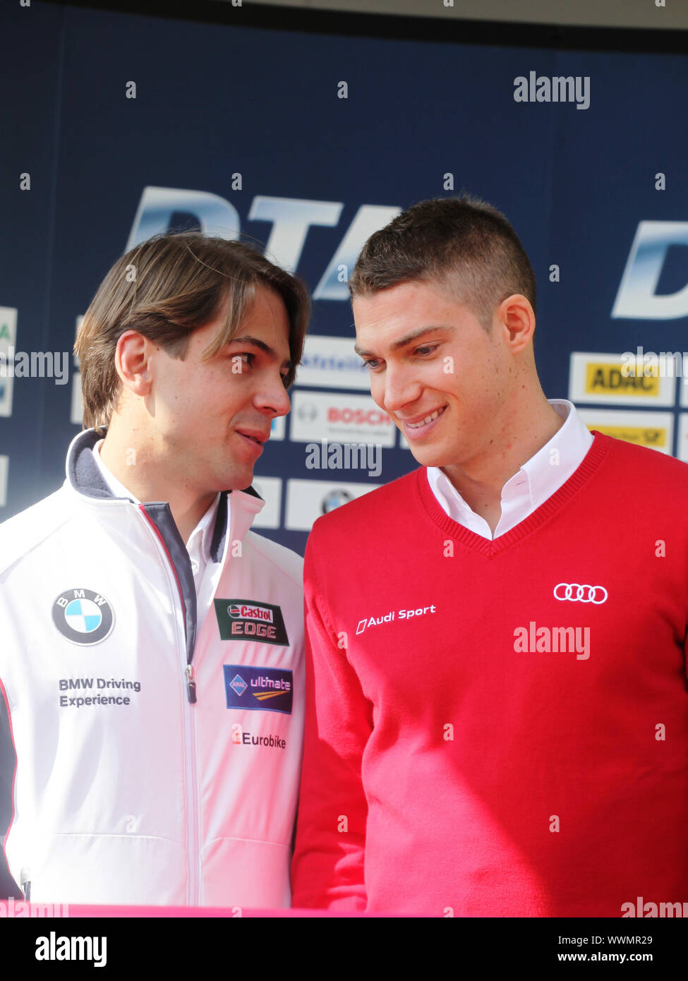 DTM-Rennfahrer Augusto Farfus (BMW),Eduardo Mortara (Audi) Pressekonferenz DTM 2014 in Braunschweig Stock Photo