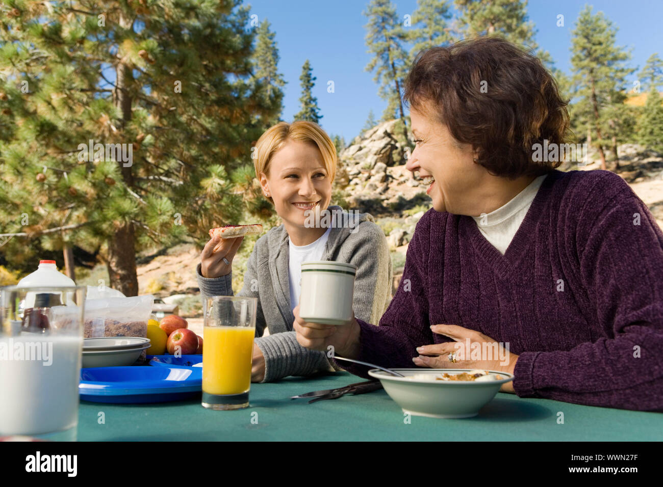 Women Sitting at Picnic Table Stock Photo