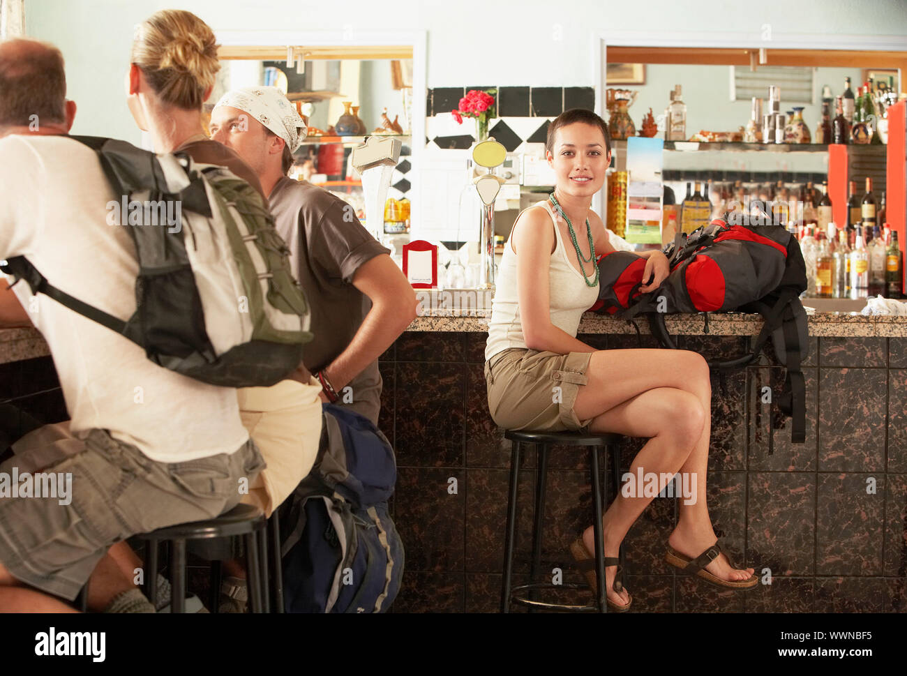 Hikers in Bar Stock Photo
