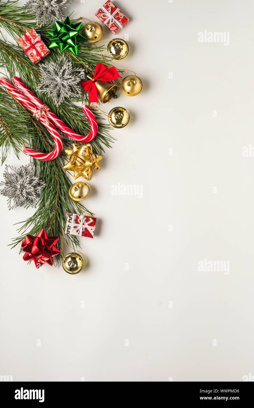 merry christmas, christmas holiday, santa claus, decorative elements, gold shiny, ball wreath Stock Photo