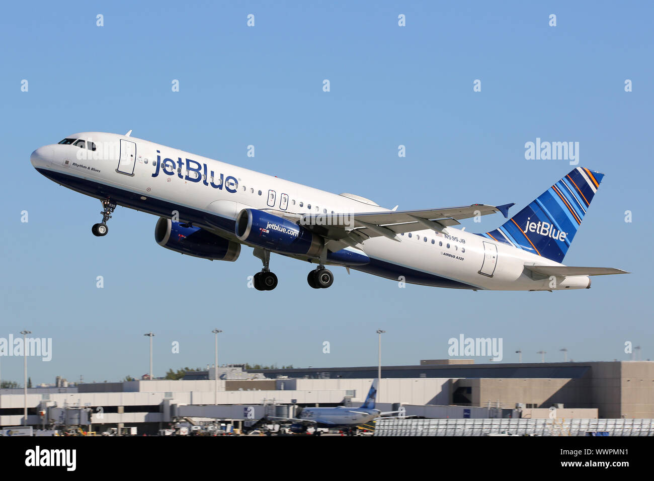 Jetblue Airbus A320 Aircraft Fort Lauderdale Airport Stock Photo