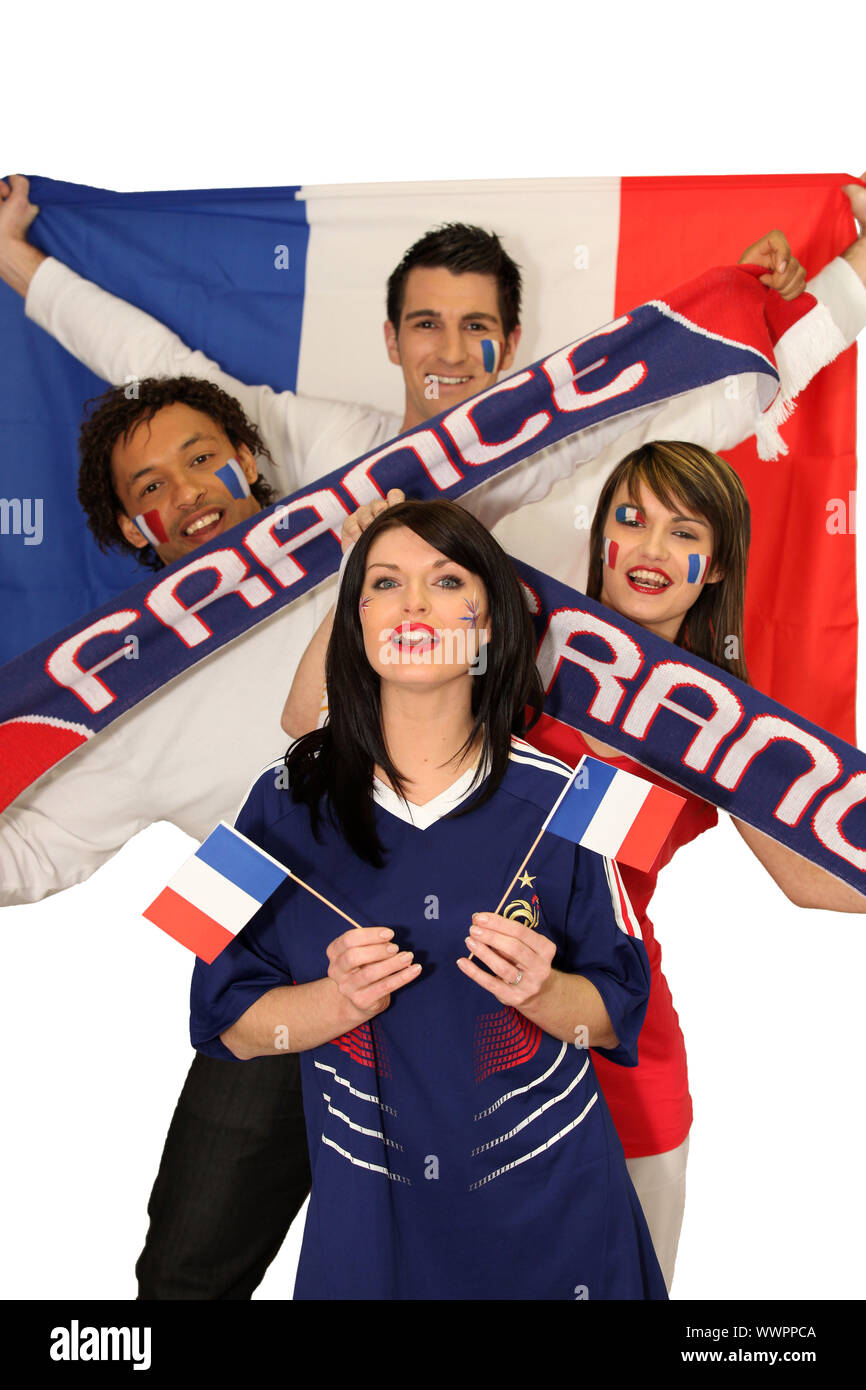 Four avid French sport fans Stock Photo