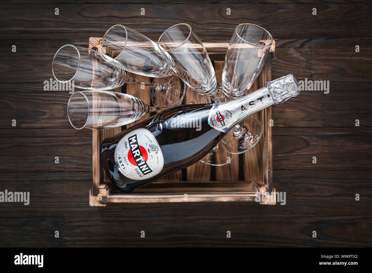 sparkling wine, martini cocktail, two glasses, fruit garnish, drink, alcohol, rossi asti Stock Photo