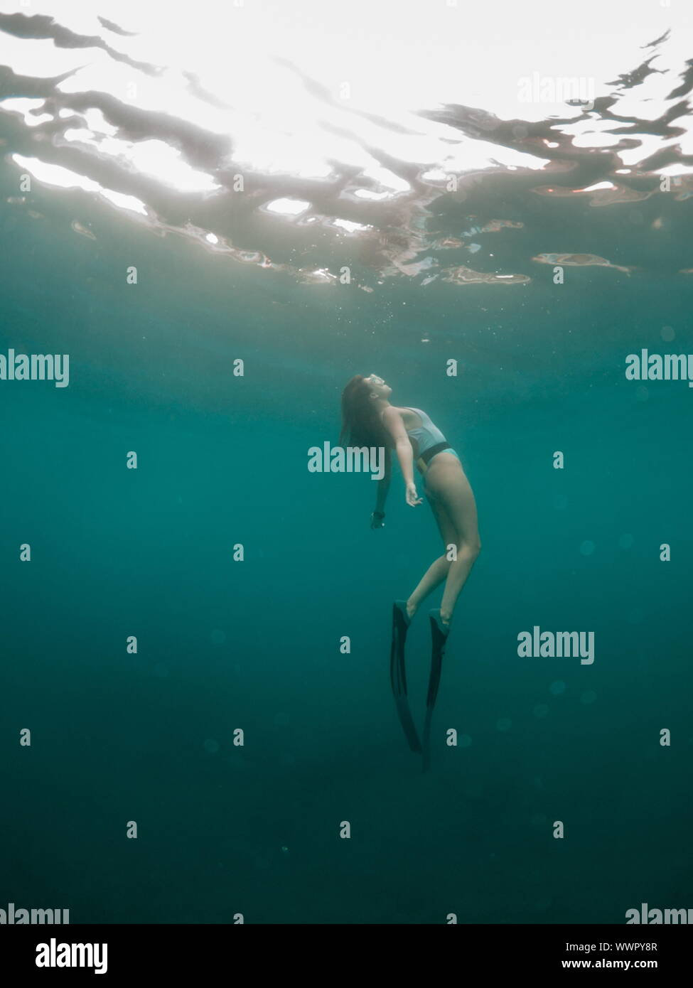 A young woman ascends from a free dive against the sun Stock Photo