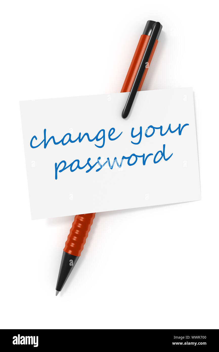 business card a ball pen and the text change your password Stock Photo