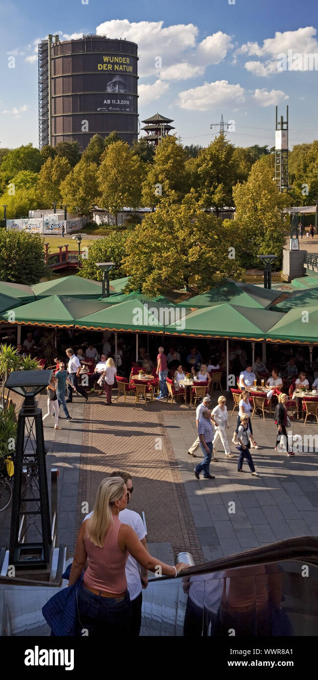 people at shopping CentrO with Gasometer, Oberhausen, North Rhine-Westphalia, Germany, Europe Stock Photo