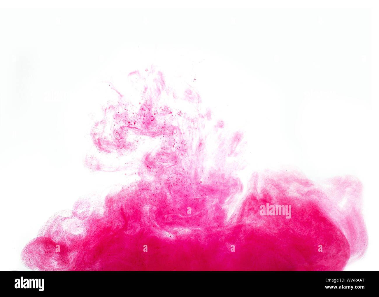 Poster color in water. Abstract background., Color paint drops in water. Ink swirling underwater, Cloud of silky ink collision on white background. Co Stock Photo
