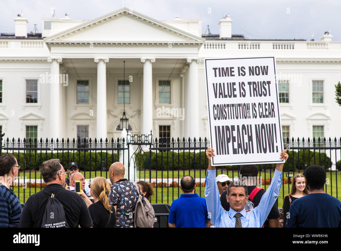 Washington DC, USA - June 7th 2019: Protester in favor of Trump's impeachment in front of the white house Stock Photo