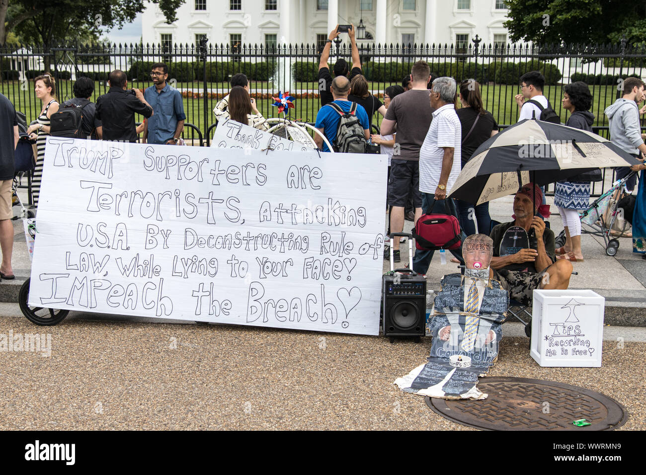 Washington DC, USA - June 7th 2019: Anti Trump protester in front of the white house Stock Photo