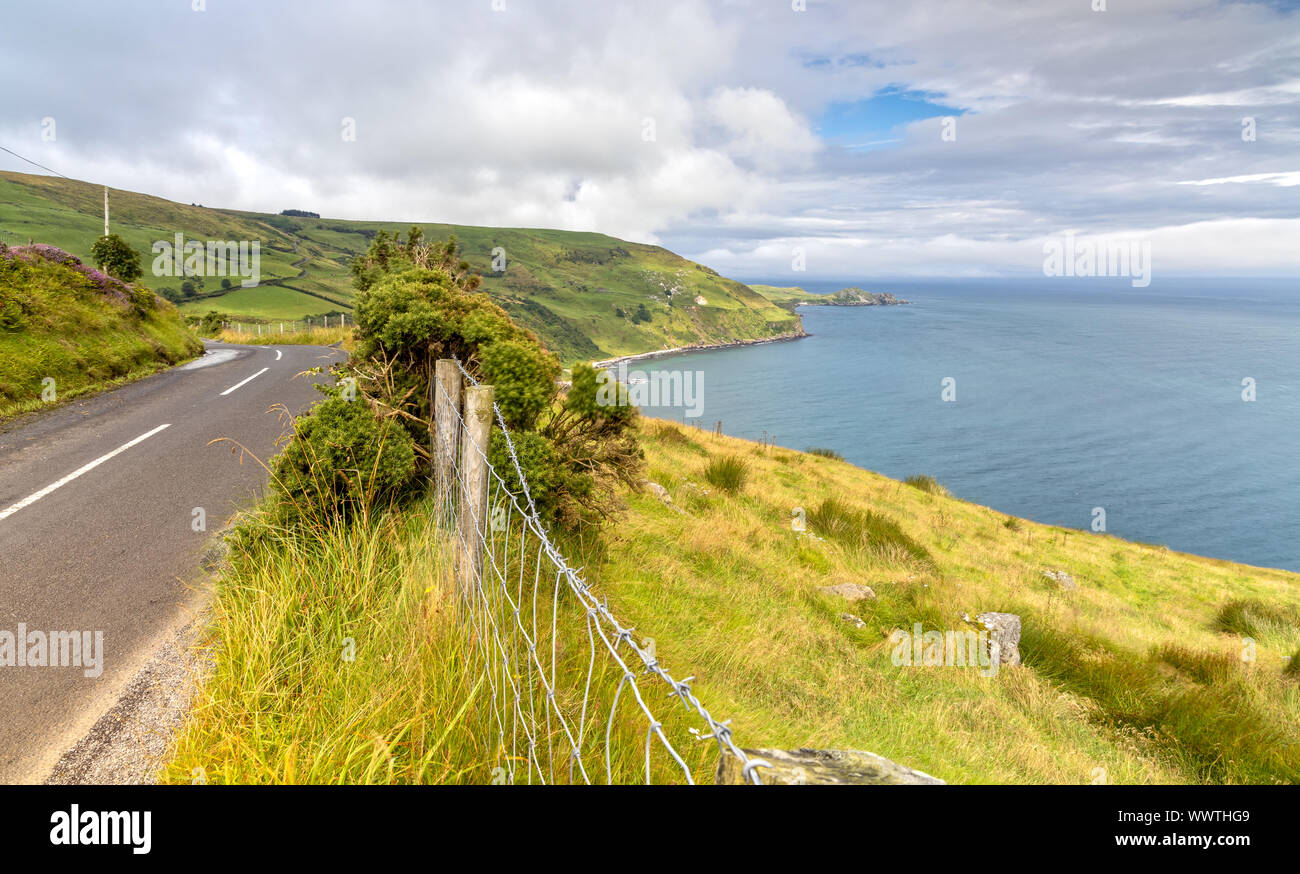 Road to Torr Head in Bellycastle, Northern Ireland Stock Photo