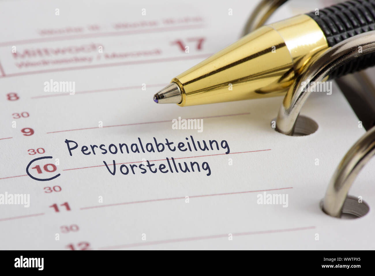 Interview in the personnel department as an entry in the appointment calendar Stock Photo