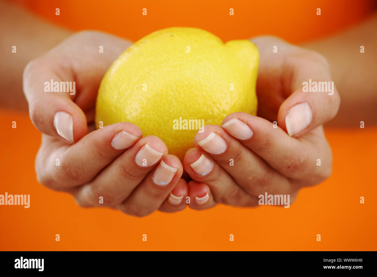 lemon in woman hands close up Stock Photo