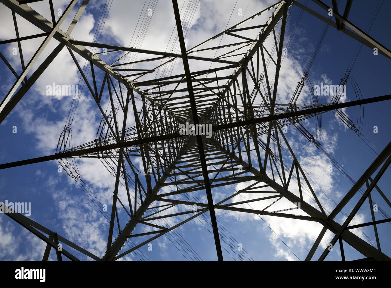 view from below to the top of a power pole, Voerde, North Rhine-Westphalia, Germany, Europe Stock Photo