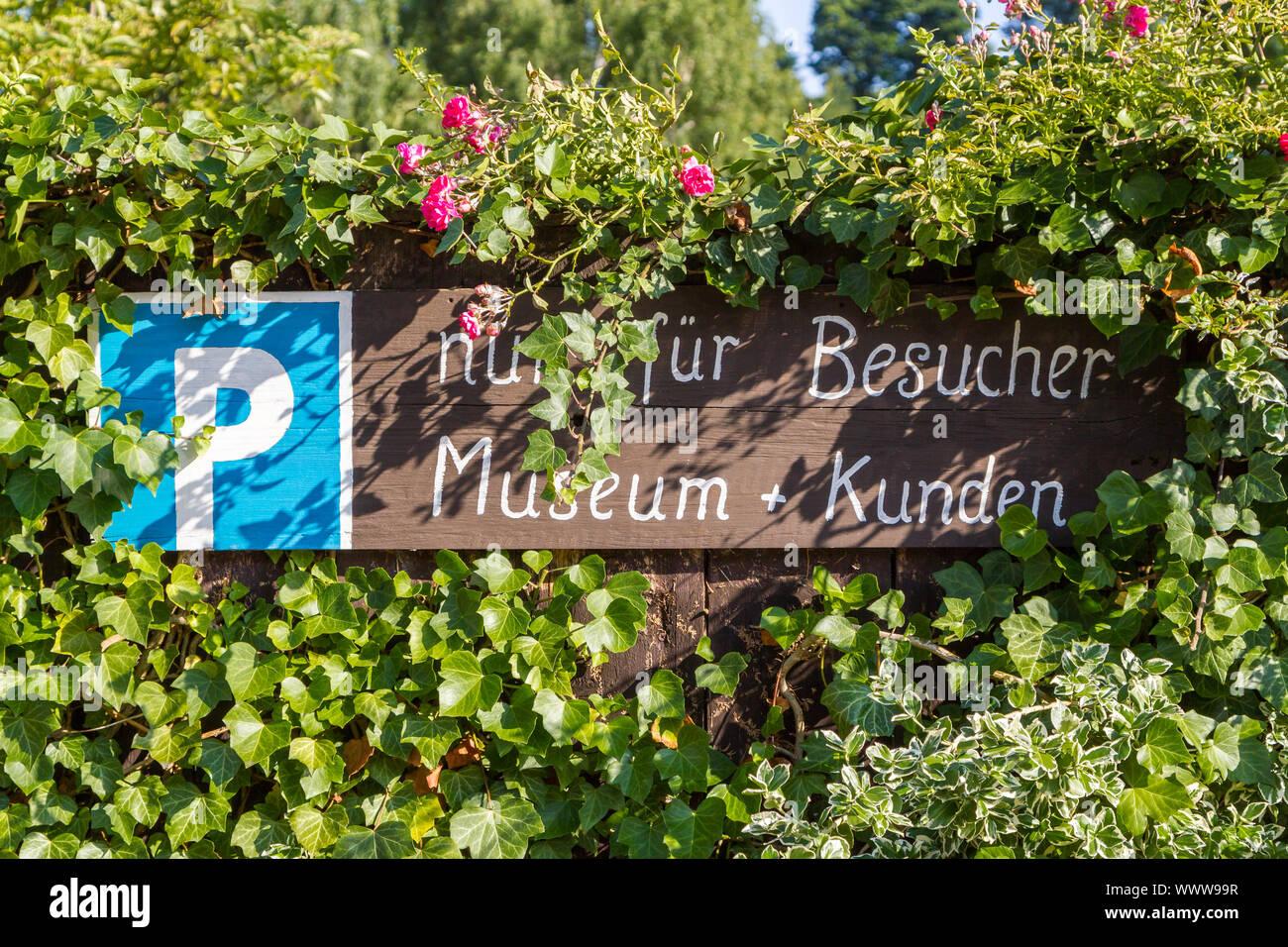 Parking lot Mausefallen Museum Güntersberge Stock Photo