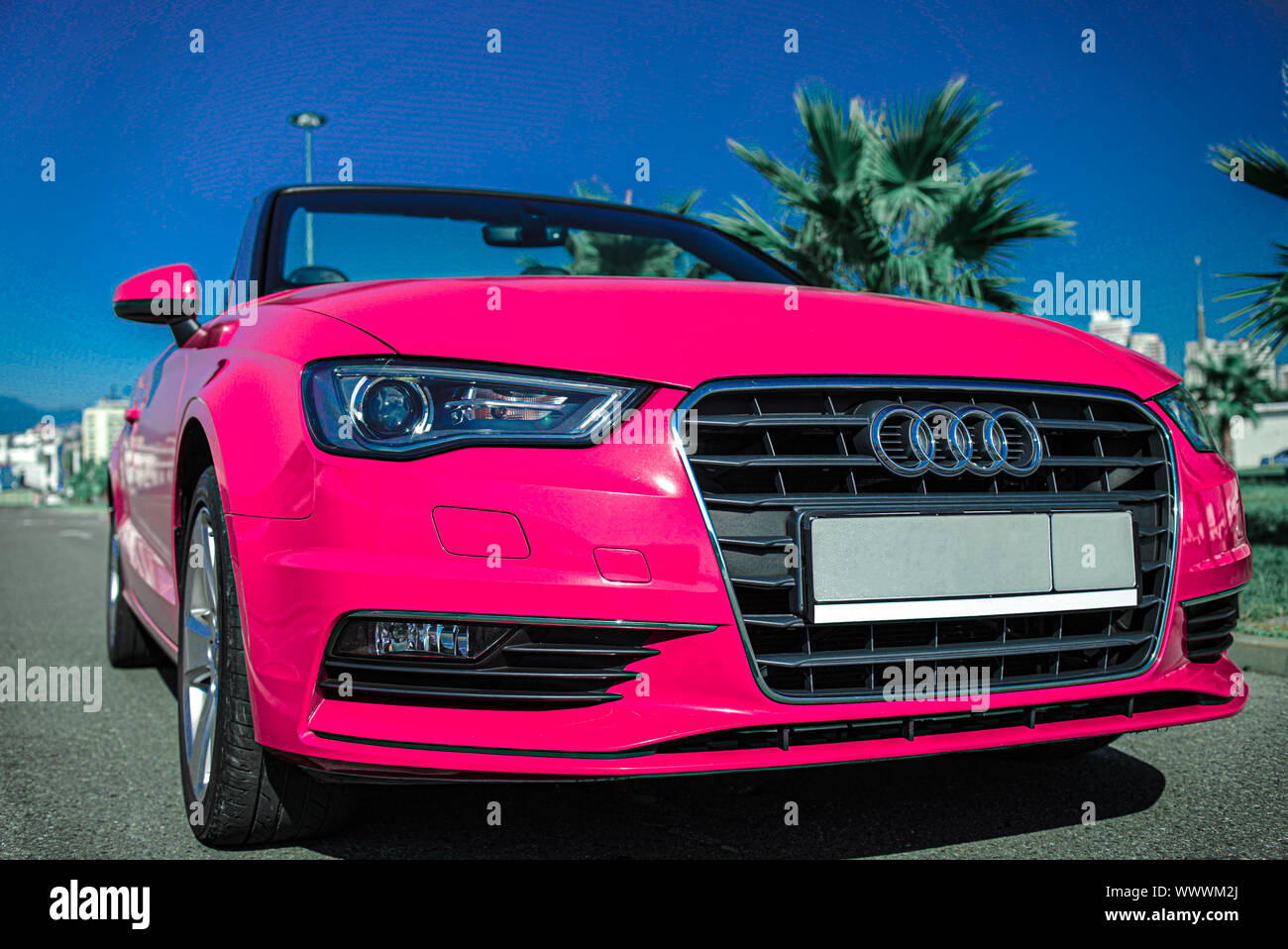 Russia Sochi August 2019 Pink Audi Convertible Near Palm Trees In The Parking Lot Summer Travel Stock Photo Alamy
