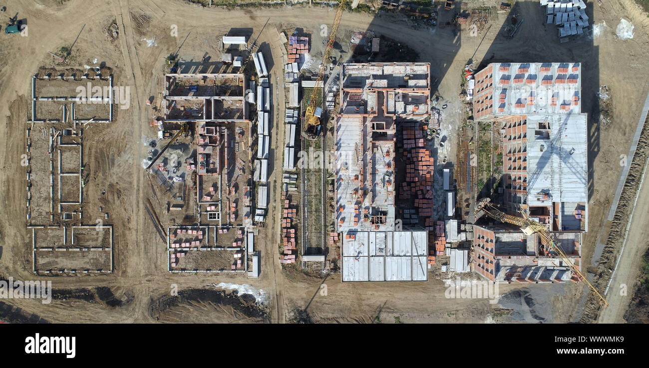 Construction of the building top view. Stock Photo