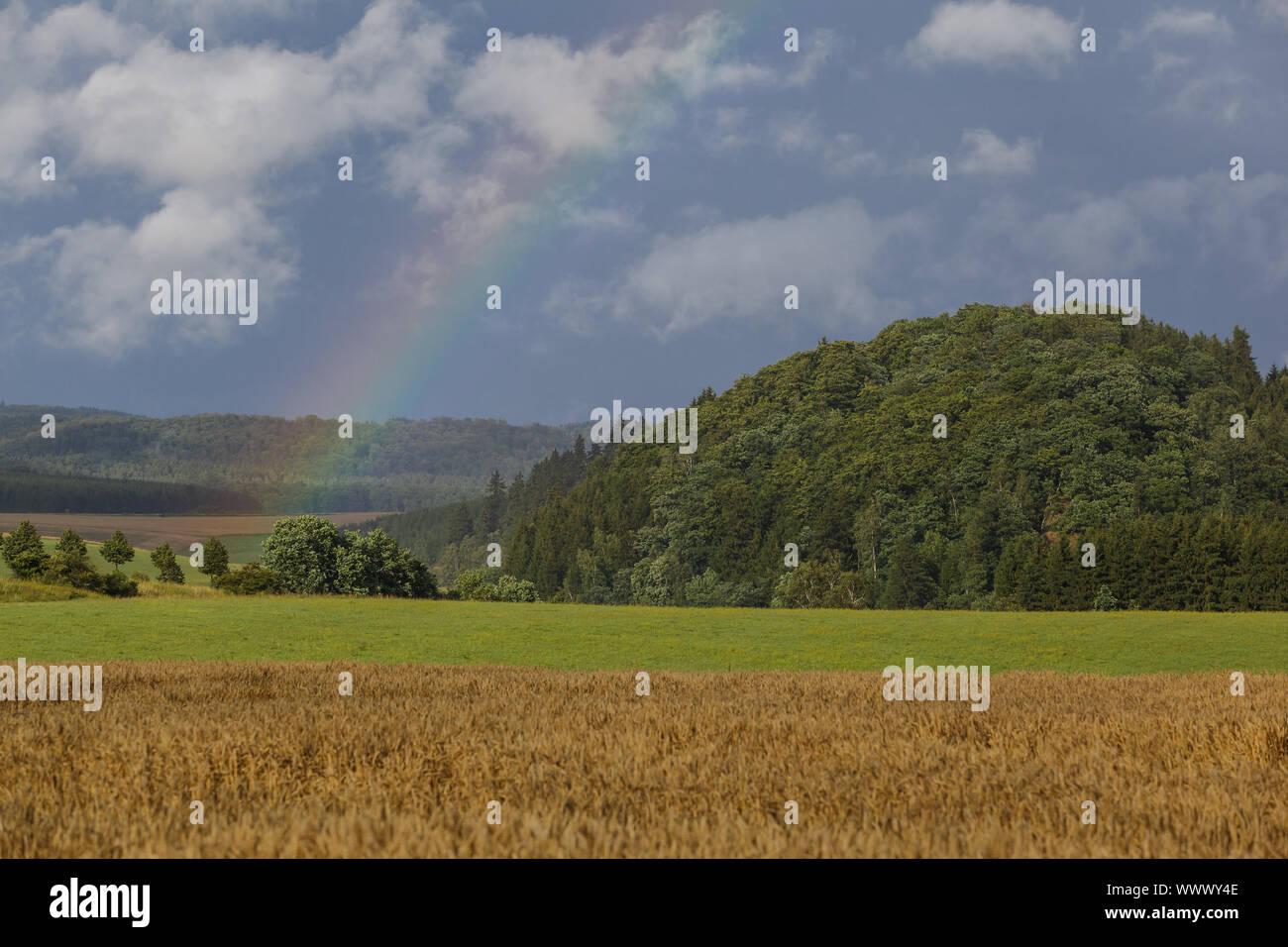 Harz landscape photo with rainbow Stock Photo